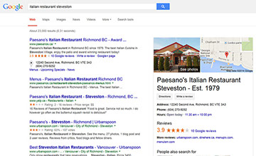 An example of how effective Search Engine Optimization Services in Vancouver from 2iiS Marketiing have boosted Paesano's internet visibility.